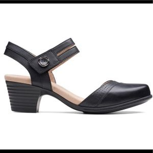 Clarks Valarie Rally Black Leather